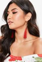 Missguided Gold Hoop Drop Tassel Earrings