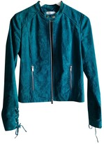 MANGO Blue Suede Leather Jacket for Women