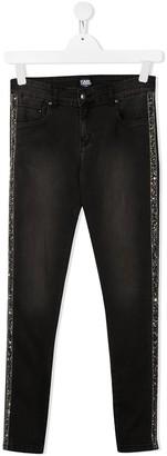 Karl Lagerfeld Paris Glitter Side Stripe Detail Jeans