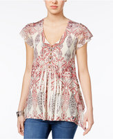 Style&Co. Style & Co Sublimated-Print Peasant Top, Only at Macy's