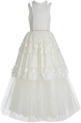 Badgley Mischka Kid's Split Shoulder Lace Tulle Tiered Gown, Size 7-14