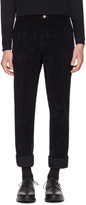 Thom Browne Navy Corduroy Unconstructed Chinos