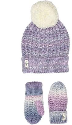 UGG Spacedye Knit Hat and Mitten Set (Toddler/Little Kids) (Lavender Fog) Caps