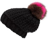 Helene Berman Women's Genuine Fox Fur Pompom Beanie - Black