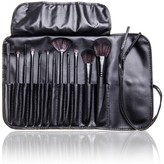 Bliss & Grace 12-Piece Professional Makeup Brush Set with Handy Vegan Leather Travel Case - Black