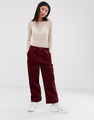 Pepe Jeans Carley straight cut corduroy pants-Red
