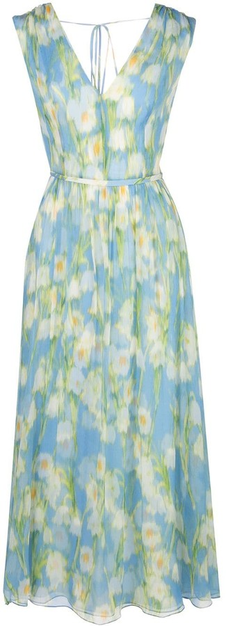 Carolina Herrera Floral Print Silk Dress