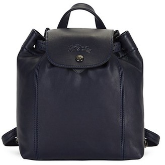 Longchamp Flap-Top Leather Backpack