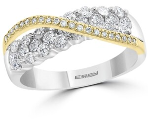 Effy Diamond Crossover Statement Ring (1 ct. t.w.) in 14k Gold & White Gold