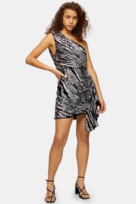 Topshop Womens Black Zebra Print One Shoulder Embroidered Dress - Black
