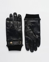 Dents Penrith Leather Gloves With Wrist Strap - Black