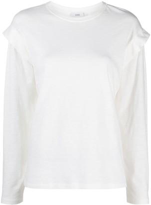 Closed ruffle-sleeve T-shirt