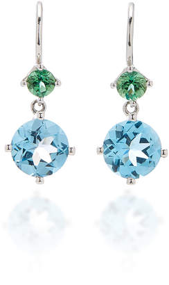 Jane Taylor Twinkle Twinkle Small Double Drop Earrings with Blue Topaz and Green Tourmaline