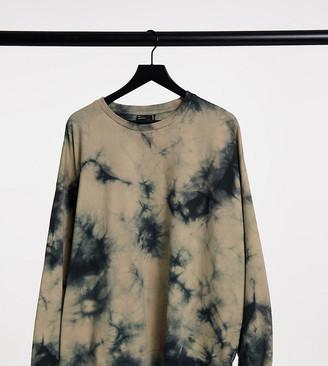 ASOS DESIGN Curve oversized sweatshirt in beige tie dye