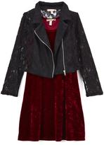 Speechless Crimson Velvet Shift Dress & Black Lace-Accent Jacket - Girls