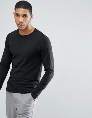 Jack and Jones Essentials long sleeve t-shirt in black