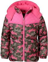 Pink Platinum Heavyweight Camouflage Puffer Jacket - Girls-Big Kid