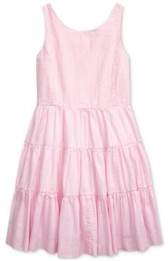Polo Ralph Lauren Big Girls Tiered Cotton Seersucker Dress