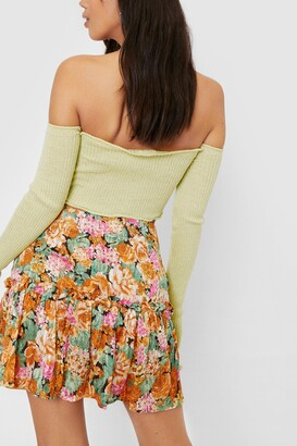 Nasty Gal Womens Floral Pleated Mini Skirt - Multi - 14