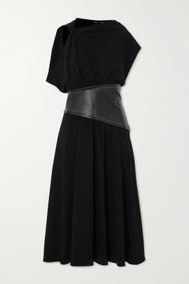 Proenza Schouler Draped Crepe And Leather Midi Dress - Black