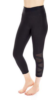 Absolutely Fit absolutely fit Women's Leggings black - Black Mesh-Inset Tummy Control Capri Leggings - Women