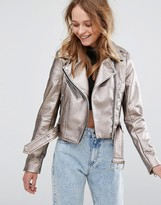 Pull&Bear Metallic Leather Look Biker Jacket