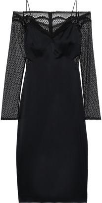 Cushnie Cold-shoulder Lace-paneled Satin Midi Slip Dress