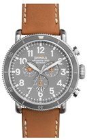 Shinola 'The Runwell' Chronograph Leather Strap Watch, 48mm