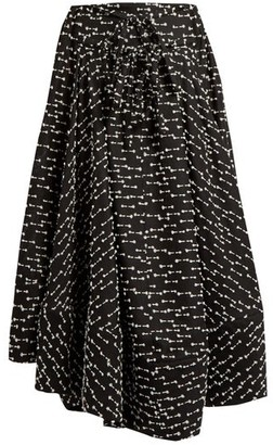 Rosie Assoulin Full A-line Gazar Skirt - Black White