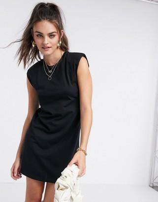 Stradivarius padded shoulder dress in black