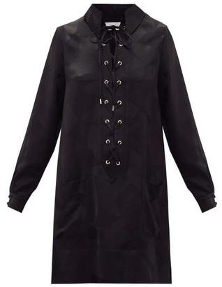 Racil Sahara Aprilia Lace-up Satin Mini Dress - Womens - Black