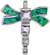 Sabrina Silver Sterling Silver Amethyst CZ Dragonfly Pendant Synthetic Opal Inlay Cubic Zirconia Accent, 7/8 inch wide
