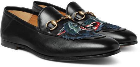 Gucci Brixton Horsebit Collapsible-Heel Appliquéd Leather Loafers