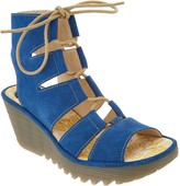 Fly London Leather Ghillie Lace Up Wedges - Yoll