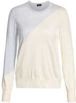 Akris Asymmetric Stripe Cashmere & Silk Fine Knit Sweater