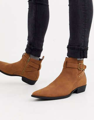 Asos DESIGN cuban heel chelsea boots in tan faux suede with buckle detail