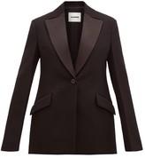 Jil Sander Longline Satin-lapel Wool Tuxedo Jacket - Womens - Black