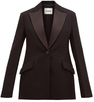Jil Sander Longline Satin-lapel Wool Tuxedo Jacket - Black