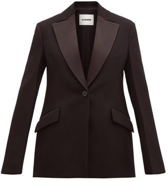 Jil Sander Longline Satin Lapel Wool Tuxedo Jacket - Womens - Black