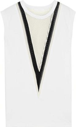 Helmut Lang Open Knit-paneled Cotton-jersey Tank