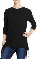 Aqua Cashmere Lace-Up Crewneck Cashmere Sweater