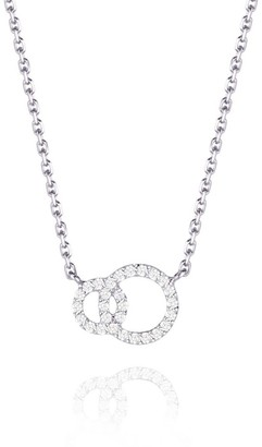 Perle de Lune Double Halo Necklace - 18K White Gold