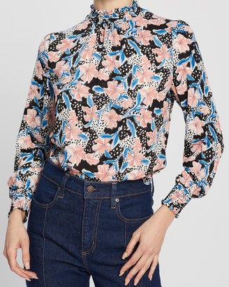 Dp Petite Penelope Floral Print Honey Top