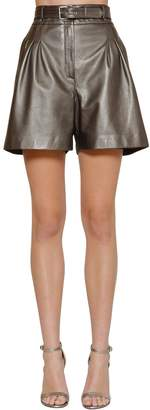 Alberta Ferretti High Waist Metallic Leather Shorts