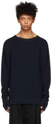 BED J.W. FORD Navy Wool Rib Knit Sweater