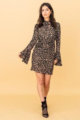 LIENA Long Sleeve Pussy-Bow Dress in Leopard Print