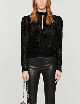 Frame Party high-neck velvet blouse