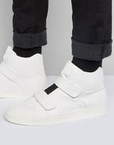 Asos High Top Sneakers in White With Elastic and Straps