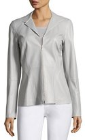 Lafayette 148 New York Kat Zip-Front Tissue-Weight Lambskin Jacket, Light Gray