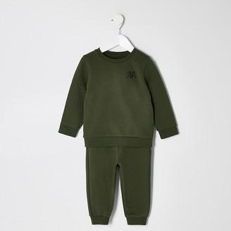 River Island Mini boys khaki RVR sweatshirt outfit